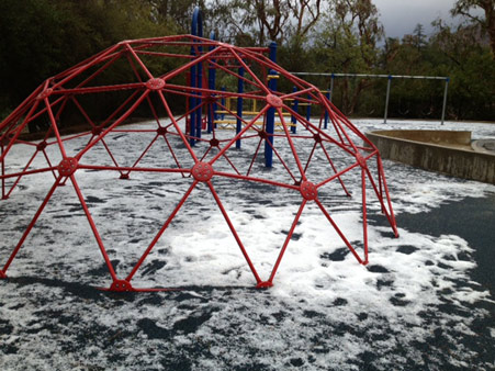 An ABC7 viewer sent us this photo of hail on a playground at Palm Crest Elementary School in La Ca&#241;ada following a bout of rain that hit Southern California on Thursday, Oct. 11, 2012.    <span class=meta>(ABC7 viewer)</span>