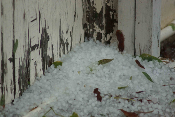 ABC7 viewer Lahiru Dilshan Perera sent us this photo of hail in Long Beach following a bout of rain that hit Southern California on Thursday, Oct. 11, 2012.
