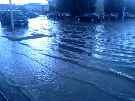 ABC7 viewer Chris Happel sent us this photo of hail and flash flooding in Lynwood following a bout of rain that hit Southern California on Thursday, Oct. 11, 2012.