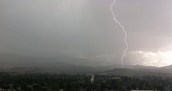 ABC7 viewer Drew Killian sent us this photo of a lightning bolt in Santa Clarita on Thursday, Oct. 11, 2012.