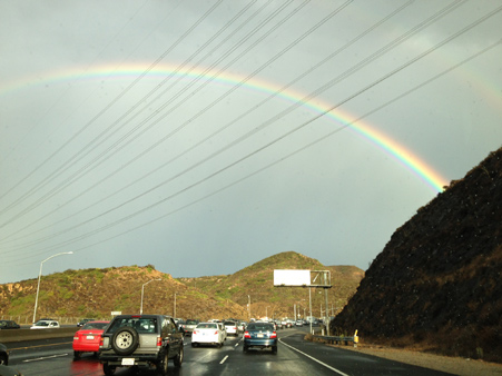 ABC7 viewer Lyndsey Barnhart from Camarillo sent us this photo of a rainbow on the South bound 101 freeway over Thousand Oaks following a bout of rain that hit Southern California on Thursday, Oct. 11, 2012.