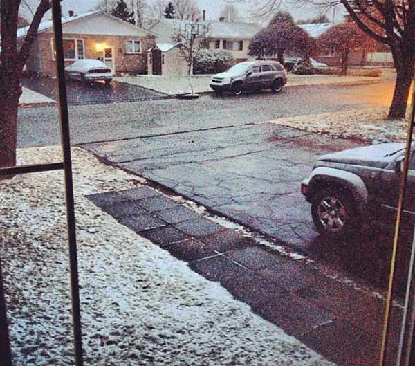 Snow is seen in Sudbury, Ontario on Monday, Oct. 29, 2012. <span class=meta>(Twitter&#47;Trista Lamothe)</span>