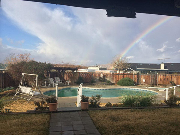 ABC7 viewer Mike Anderson sent in this photo of a rainbow from his backyard in Apple Valley on Friday, Feb. 28, 2014. When You Witness breaking news, or even something extraordinary, send pictures and video to video@abc7.com, or post them to the ABC7 Facebook page or to @abc7 on Twitter  <span class=meta>(Mike Anderson)</span>