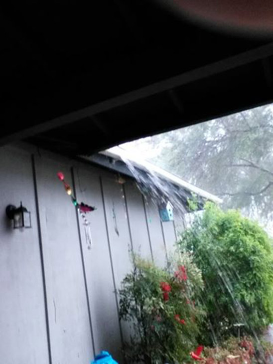 ABC7 viewer Christina Benfield sent in this photo of water falling off her roof via email on Friday, Feb. 28, 2014. When You Witness breaking news, or even something extraordinary, send pictures and video to video@abc7.com, or post them to the ABC7 Facebook page or to @abc7 on Twitter  <span class=meta>(Christina Benfield)</span>