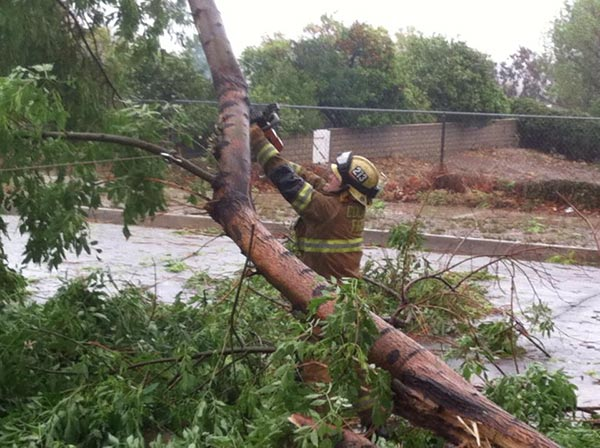 ABC7 viewer Xavier Lemos sent in this photo of a firefighter clearing away debris in Colton via Facebook on Friday, Feb. 28, 2014. When You Witness breaking news, or even something extraordinary, send pictures and video to video@abc7.com, or post them to the ABC7 Facebook page or to @abc7 on Twitter  <span class=meta>(Xavier Lemos)</span>