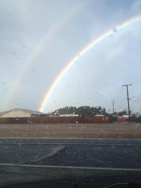ABC7 viewer Sophia Romero sent in this photo of a double rainbow in Mountain View Acres on Friday, Feb. 28, 2014. &#160;When You Witness breaking news, or even something extraordinary, send pictures and video to video@abc7.com, or post them to the ABC7 Facebook page or to @abc7 on Twitter  <span class=meta>(Sophia Romero)</span>
