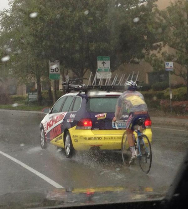 ABC7 viewer Denae Rasmussen sent in this photo of a biker pedaling in the rain in Rancho Santa Maragarita on Friday, Feb. 28, 2014. When You Witness breaking news, or even something extraordinary, send pictures and video to video@abc7.com, or post them to the ABC7 Facebook page or to @abc7 on Twitter  <span class=meta>(Denae Rasmussen)</span>