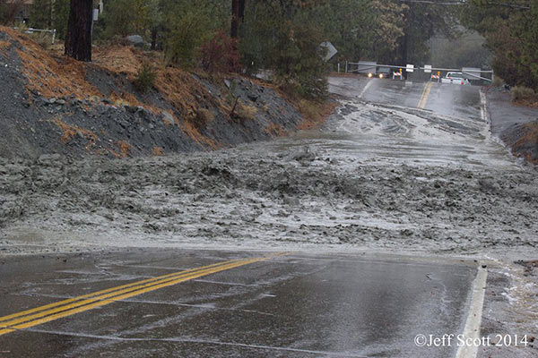 ABC7 viewer Jeff Scott sent in this photo of water flooding Lone Pine Canyon Road in Wrightwood on Friday, Feb. 28, 2014. When You Witness breaking news, or even something extraordinary, send pictures and video to video@abc7.com, or post them to the ABC7 Facebook page or to @abc7 on Twitter  <span class=meta>(Jeff Scott)</span>