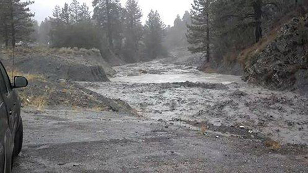 ABC7 viewer Jason Simpson sent in this photo of Sheep Creek wash in Wrightwood blocked by water and debris via email on Friday, Feb. 28, 2014. When You Witness breaking news, or even something extraordinary, send pictures and video to video@abc7.com, or post them to the ABC7 Facebook page or to @abc7 on Twitter  <span class=meta>(Jason Simpson)</span>