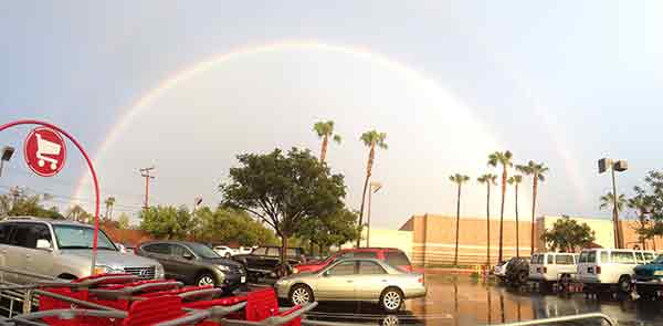 ABC7 viewer Maury Estabrooks sent in this photo of a double rainbow in Costa Mesa via email on Sunday, March 2, 2014. When You Witness breaking news, or even something extraordinary, send pictures and video to video@abc7.com, or post them to the ABC7 Facebook page or to @abc7 on Twitter  <span class=meta>(Maury Estabrooks)</span>