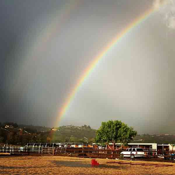 ABC7 viewer Dawn Burns Bloom sent in this photo of a double rainbow in Santa Rosa Valley via Facebook on Sunday, March 2, 2014. When You Witness breaking news, or even something extraordinary, send pictures and video to video@abc7.com, or post them to the ABC7 Facebook page or to @abc7 on Twitter  <span class=meta>(Dawn Burns Bloom)</span>