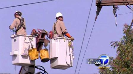 Crews work on restoring power.