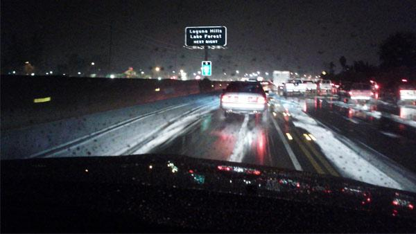 ABC7 viewer Andrea Kerr took this photo of snow on the I-5 in Mission Viejo, Calif., on Thursday, Dec. 15, 2011.