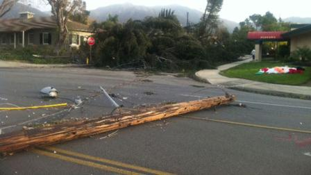 A power line fell onto a street in Arcadia, Calif., on Thursday, Dec. 1, 2011.