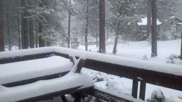ABC7 viewer Lauri of Big Bear sent in this photo after a storm passed over Southern California on Wednesday, Feb. 15, 2012.
