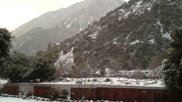 ABC7 viewer Kyle Bescoby of Mt. Baldy sent in this photo after a storm passed over Southern California on Wednesday, Feb. 15, 2012.