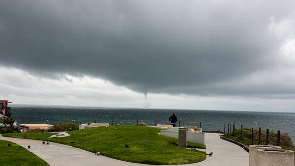 ABC7 viewer Marianne Cohen sent in this photo of a waterspout seen from Corona Del Mar beach on Friday, April 13, 2012.