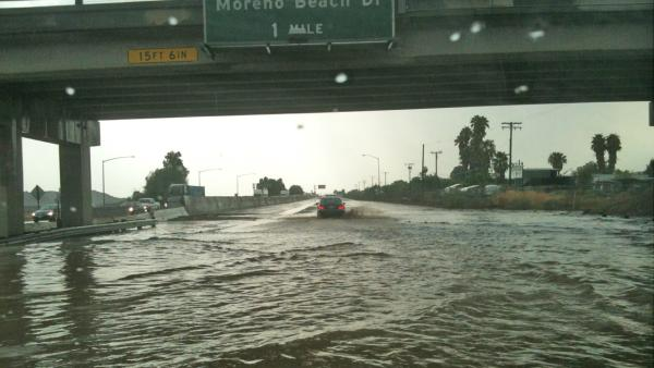 ABC7 viewer Mike Maxson sent in this photo of flooding on the 60 Freeway at Redlands Boulevard in Moreno Valley on Thursday, August 30, 2012.