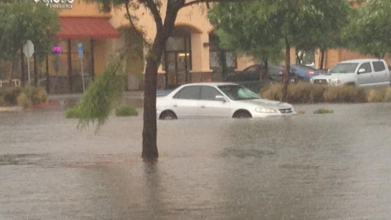 ABC7 viewer John McLane sent in this photo of flooding in the parking lot of a Wal-Mart Supercenter on Moreno Beach Drive in Moreno Valley on Thursday, August 30, 2012. <span class=meta>(ABC7 viewer John McLane)</span>