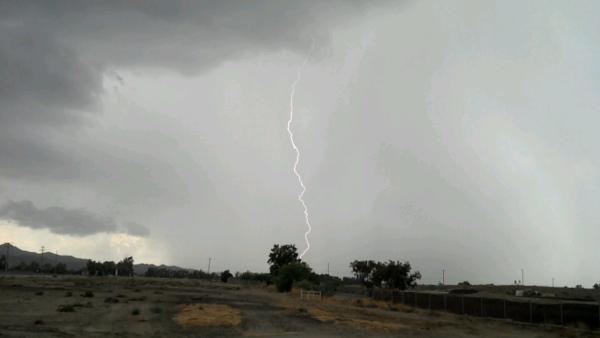 ABC7 viewer Justin Dewey sent in this photo of lightning in San Jacinto on Thursday, August 30, 2012.