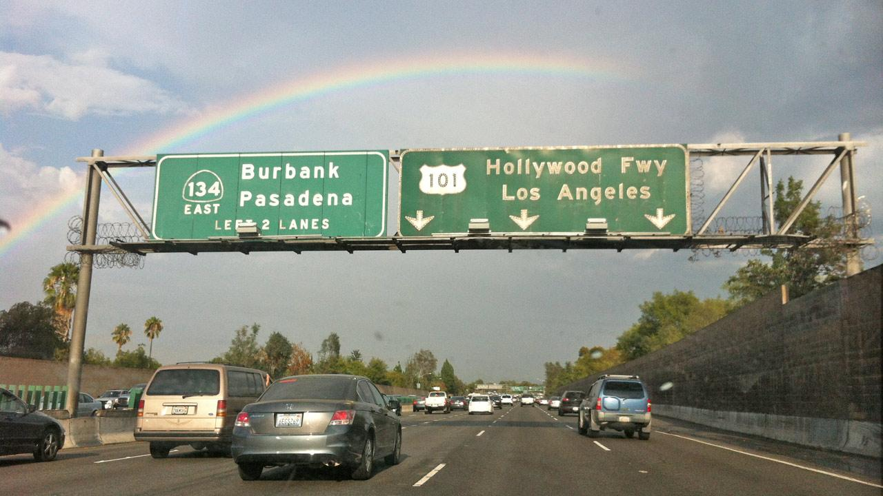 ABC7 viewer Yoav Shalev sent in this photo of a rainbow at the 101-134 interchange near Burbank on Thursday, August 30, 2012. <span class=meta>(ABC7 viewer Yoav Shalev)</span>