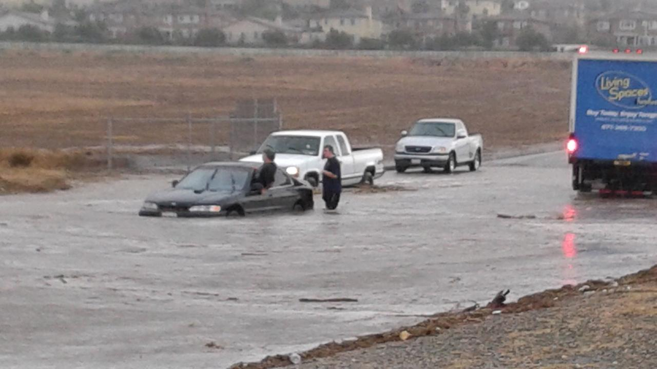An ABC7 viewer sent in this photo of flooding following a wild summer storm in Southern California on Thursday, August 30, 2012. <span class=meta>(ABC7 viewer)</span>
