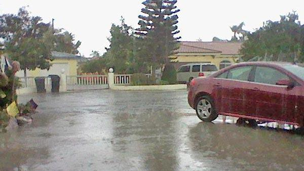ABC7 viewer Dominic Xavier Urrutia sent us this photo via Facebook of hail in Downey on Thursday, Oct. 11, 2012.