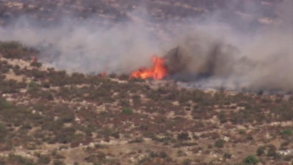 Brush fires erupt; red-flag warning in effect