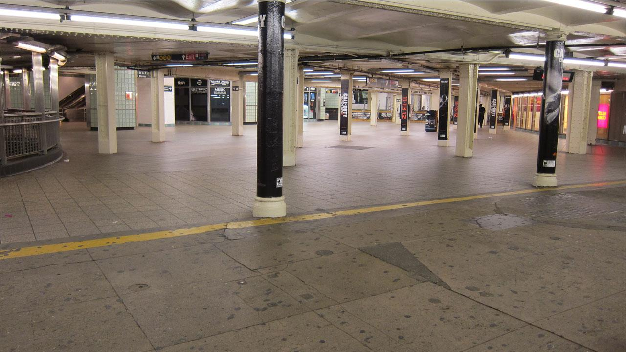 The New York City Subway system suspended service starting at 7 p.m. on Sunday, Oct. 28, 2012, ahead of Hurricane Sandy. This photo shows an empty Times Square station.Metropolitan Transportation Authority / Aaron Donovan
