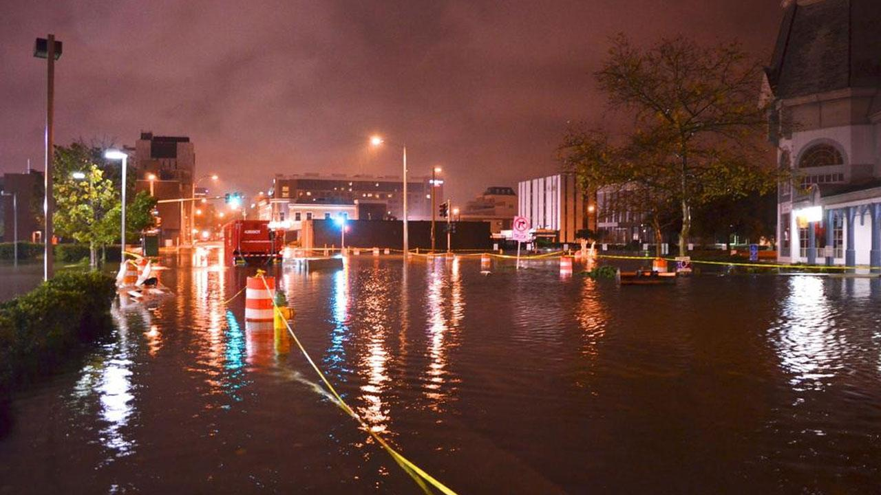 Streets are flooded in downtown Norfolk on Sunday, Oct. 28, 2012, ahead of Hurricane Sandy.Twitter/Martin Cornick