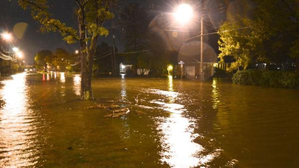 Streets are flooded in downtown Norfolk on Sunday, Oct. 28, 2012, ahead of Hurricane Sandy.