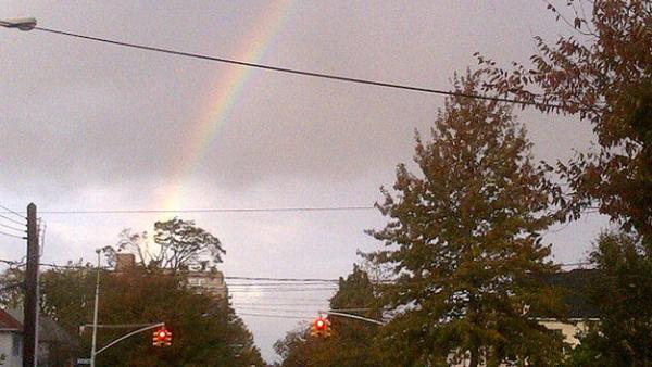 A rainbow is seen from Brooklyn, N.Y. on Tuesday, Oct. 30, 2012, after Hurricane Sandy passes through the area.