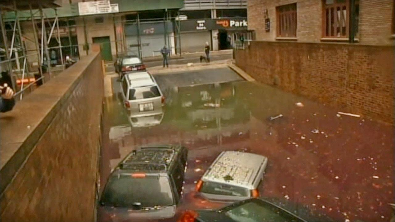 Vehicles in New York City are submerged under water in the wake of superstorm Sandy on Tuesday, Oct. 30, 2012.