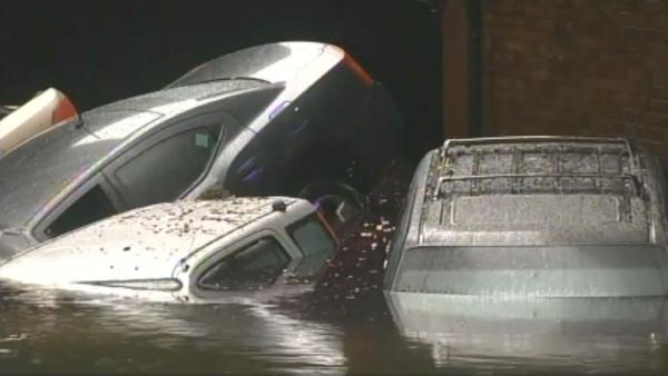 Cars left inundated by superstorm Sandy on Tuesday, Oct. 30, 2012.