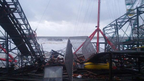 Damage is seen at FunTown Amusement Pier in Seaside Park, N.J. in the wake of Superstorm Sandy on Tuesday, Oct. 30, 2012.