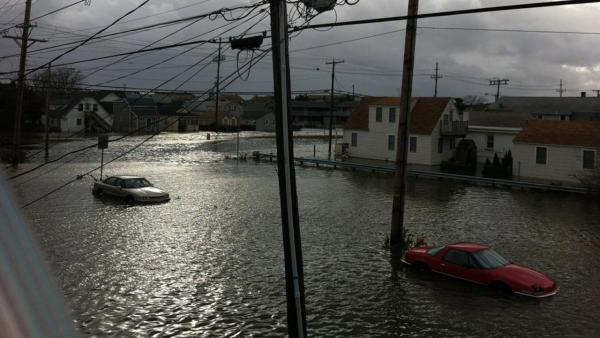 A flooded street in Seaside Heights, N.J., is seen in the wake of Superstorm Sandy on Tuesday, Oct. 3