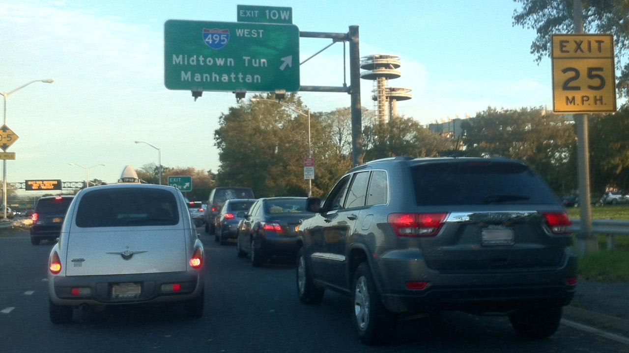ABC7 Reporter Robert Holguin sent in this photo of traffic heading toward Manhattan from JFK International Airport on Thursday, Nov. 1, 2012. <span class=meta>(ABC7 Reporter Robert Holguin)</span>
