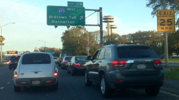 ABC7 Reporter Robert Holguin sent in this photo of traffic heading toward Manhattan from JFK International Airport on Thursday, Nov. 1, 2012.