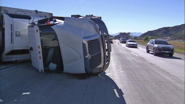Strong winds blamed for big-rig crash on I-15