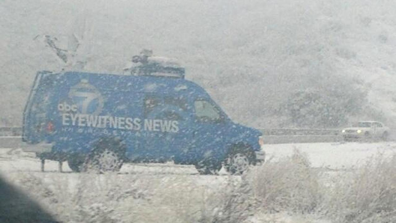 ABC7 viewer Alyssa Carlson sent us this photo of the Eyewitness News van along the Grapevine stretch of the 5 Freeway during a storm that hit Southern California on Friday, Feb. 8, 2013. <span class=meta>(ABC7 viewer Alyssa Carlson)</span>