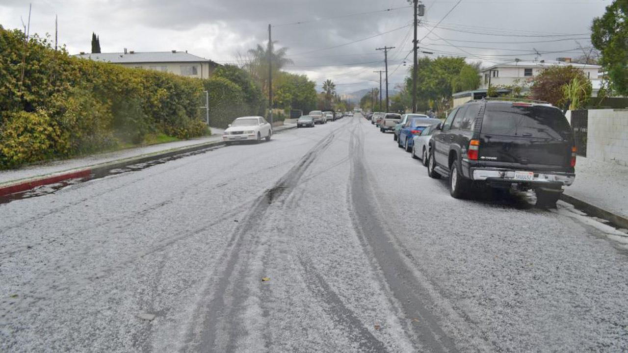 ABC7 viewer Ramses Lemus sent us this photo of hail in North Hollywood during a storm that hit Southern California on Friday, Feb. 8, 2013. <span class=meta>(ABC7 viewer Ramses Lemus)</span>