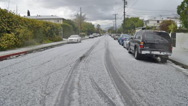 ABC7 viewer Ramses Lemus sent us this photo of hail in North Hollywood during a storm that hit Southern California on Friday, Feb. 8, 2013.