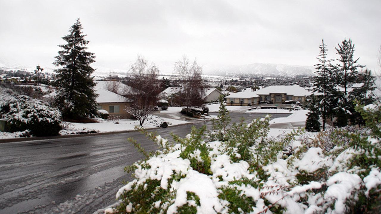 ABC7 viewer Ronald Widman sent us this photo of snow in Yucaipa during a storm that hit Southern California on Friday, Feb. 8, 2013. <span class=meta>(ABC7 viewer Ronald Widman)</span>