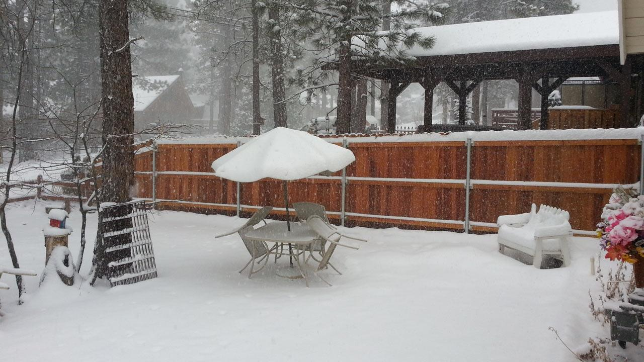 ABC7 viewer Jaime Juengel sent us this photo of snow during a storm that hit Southern California on Friday, March. 8, 2013. <span class=meta>(ABC7 viewer Jaime Juengel)</span>