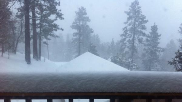 ABC7 viewer Cindi Stoll sent us this photo of snow in Fawnskin during a storm that hit Southern California on Friday, March. 8, 2013.