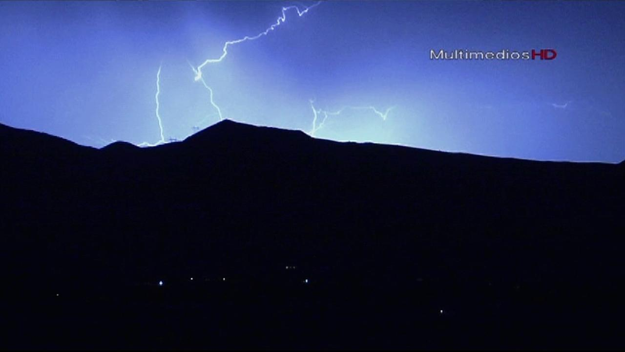 Residents in Hesperia saw the night sky light up after a storm system brought some lightning to the area Sunday, July 21, 2013.