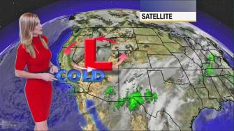 ABC7 meteorologist Bri Winkler outlines a cold forecast for Southern California with temperatures in the 50s in most areas, 40s in the High Desert and 30s in the local mountains on Thursday, Dec. 5, 2013.