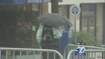 A person uses an umbrella to shield herself from the rain on Saturday, Dec. 7, 2013.