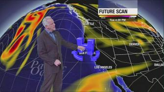 ABC7 weathercaster Garth Kemp says an area of high pressure is moving across the region, creating a cold Santa Ana event this week.