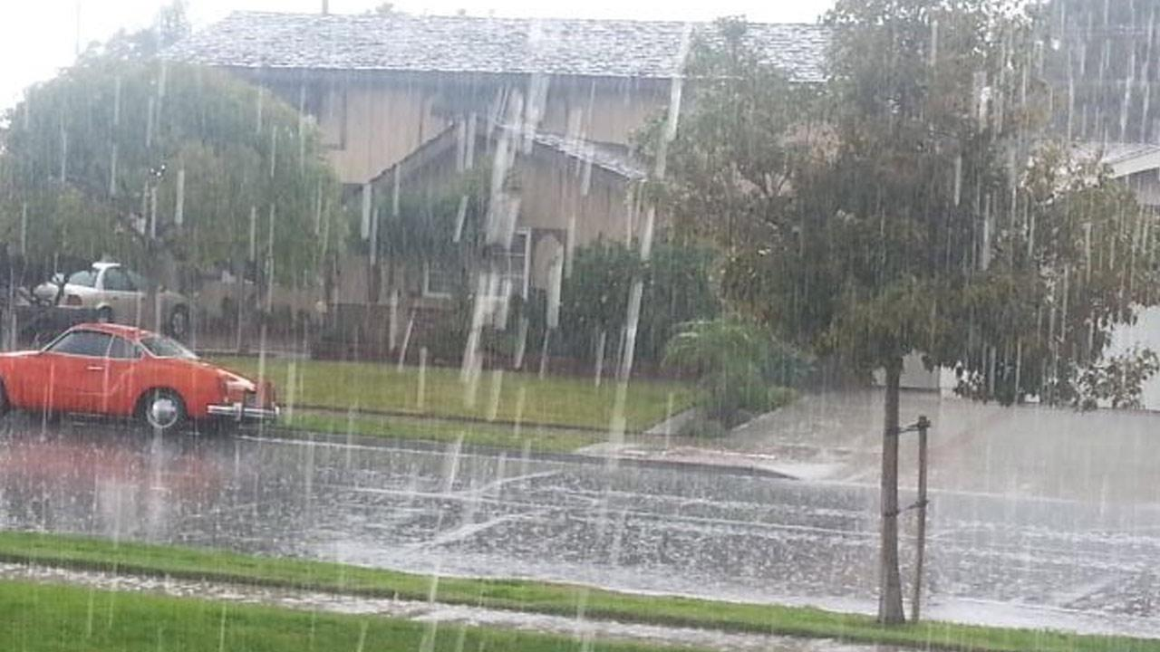 ABC7 viewer Donna Gera took this photo of the rain falling in the city of Cypress on Thursday, Feb. 6, 2014.